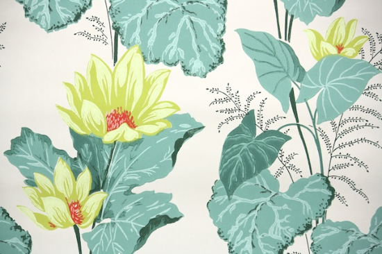 Water Lilies Bathroom Vintage Wallpaper from Hannah's Treasures Vintage Wallpaper